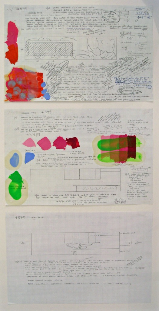 David Reed, Working Drawing for # 549 2004-2006 Oil, alkyd and graphite on paper 28 x  43 cm 3 pages
