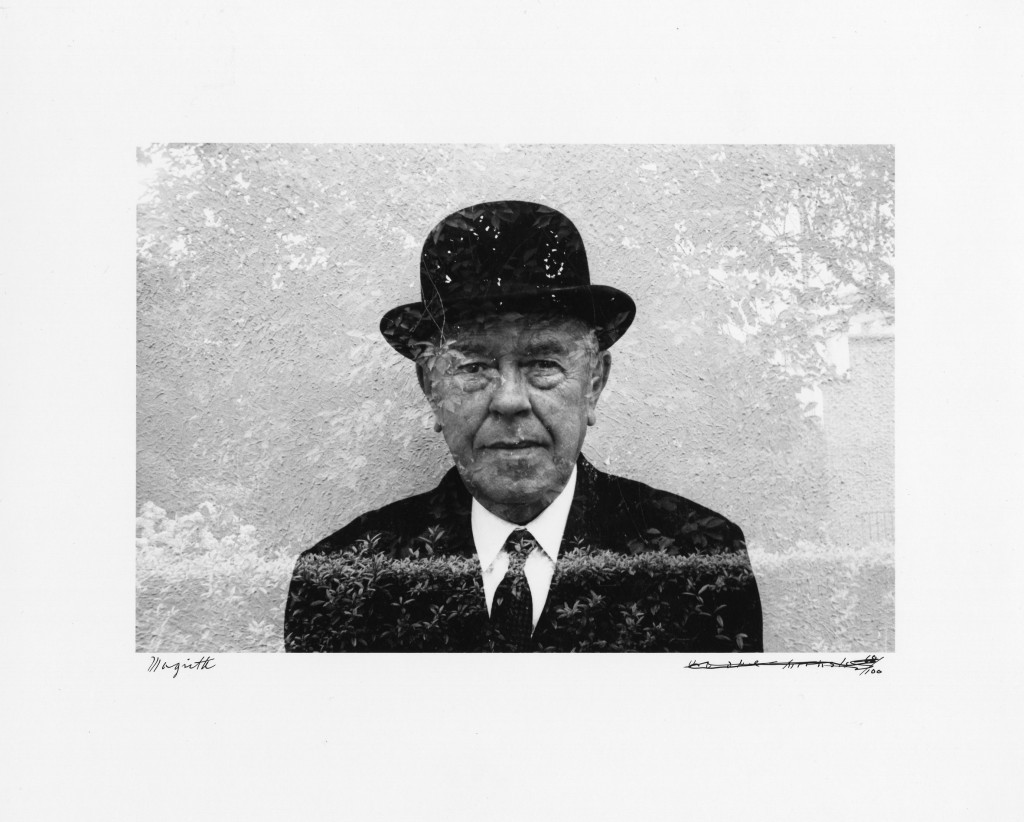 Portrait of Magritte in his garden (double-exposed) - 1965 © Duane Michals Copyright Duane Michals. Courtesy Admira, Milan / Galerie Clara Maria Sels, Duesseldorf