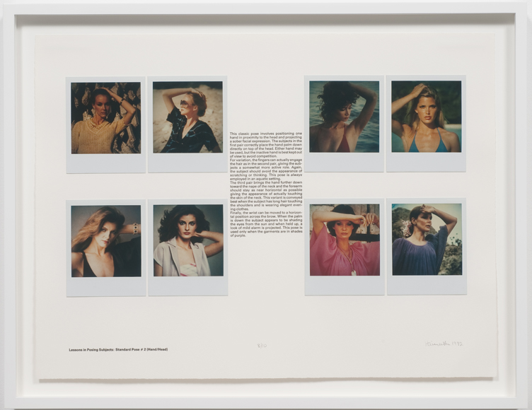 Robert Heinecken: Lessons in Posing Subjects / Standard Pose #2 (Hand/Head) 1981 8 unique SX-70 Polaroid prints mounted on BFK paper, letterpress title and text, Ed. 10 15 x 20 inches