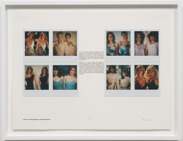 Robert Heinecken: Lessons in Posing Subjects / Identical Garments 1981 SX-70 Polaroid prints mounted BFK paper, letterpress title and text, Ed. 10 15 x 20 inches